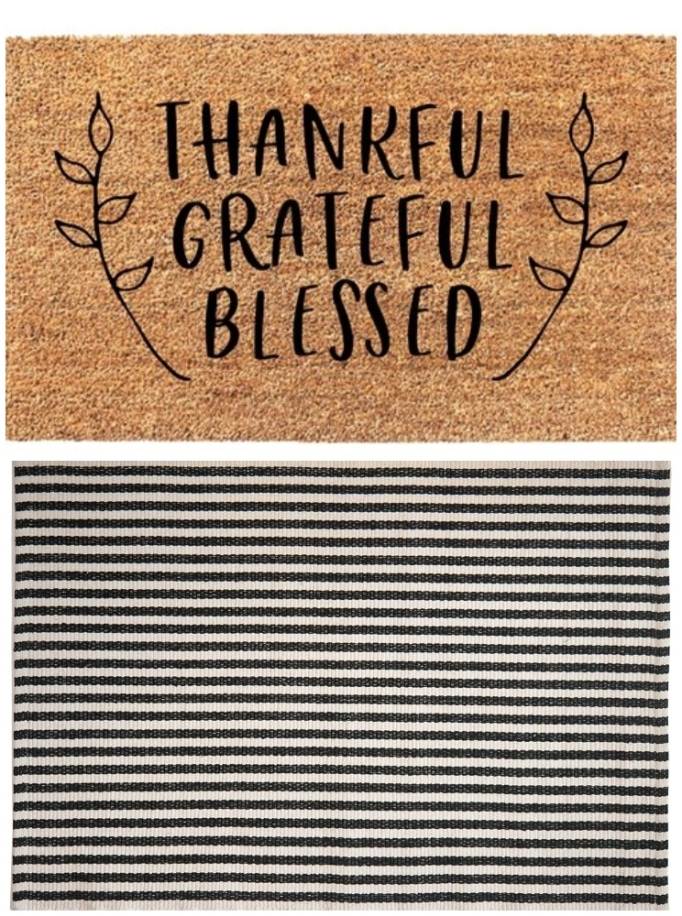 "Layered rug look featuring ""Thankful Grateful Blessed"" doormat and hand-woven black and white eco rug."