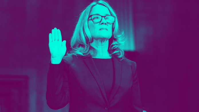 Dr. Christine Blasey Ford testifying with