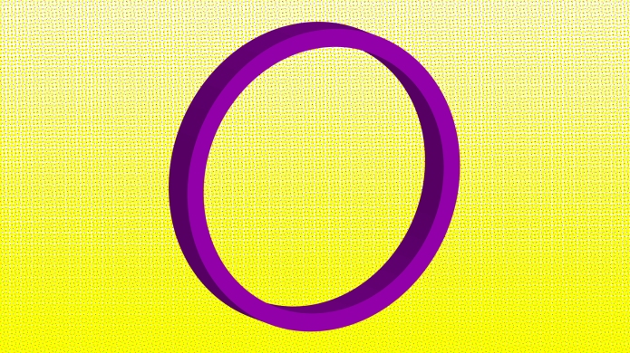 Purple circle on a yellow background.