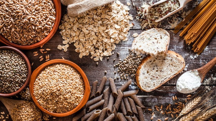 Assortment of whole grain foods on