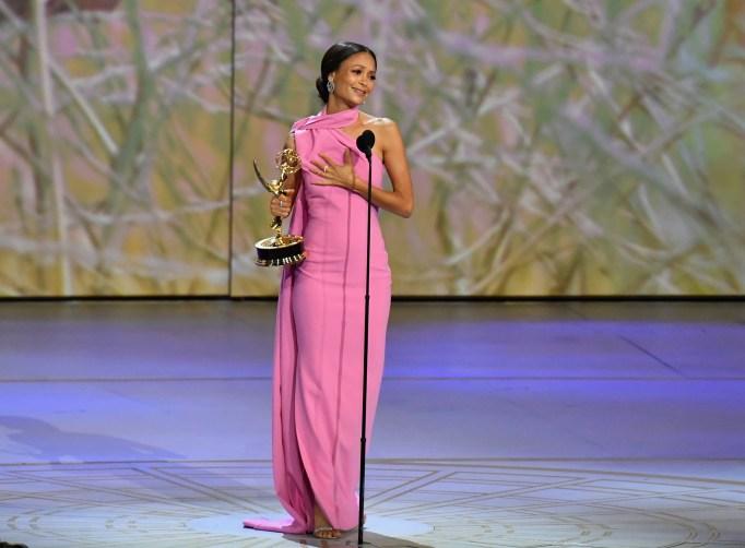 Thandie Newton reacts after winning an Emmy award