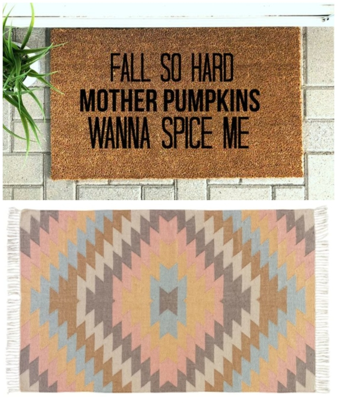 "Layered rug look featuring ""Fall So Hard"" doormat and Laurel Foundry Modern Farmhouse handwoven rug."