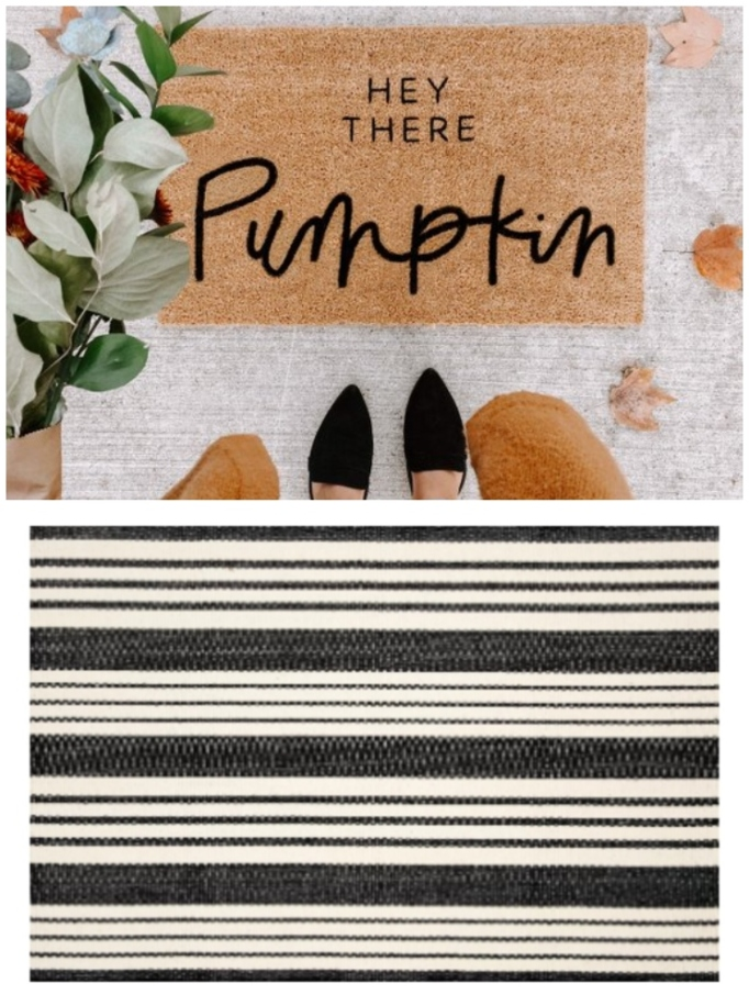 "Layered rug look featuring ""Hey There Pumpkin"" doormat and Dash and Albert Birmingham rug."