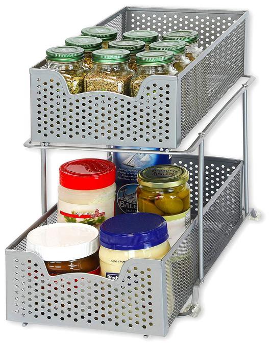 2 Tier Sliding Cabinet Basket Organizer Drawer