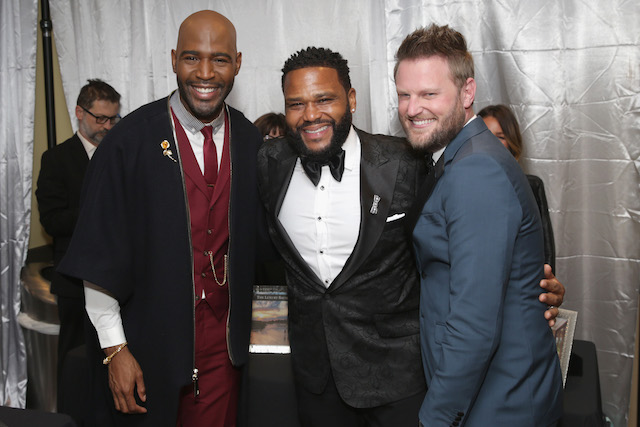 Karamo Brown, Anthony Anderson and Bobby Berk attend Backstage Creations Giving Suite At The 70th Emmy Awards at Microsoft Theater