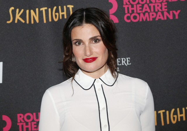 Idina Menzel poses at the opening night of the Roundabout Theatre Company's new play 'Skintight' at The Laura Pels Theatre