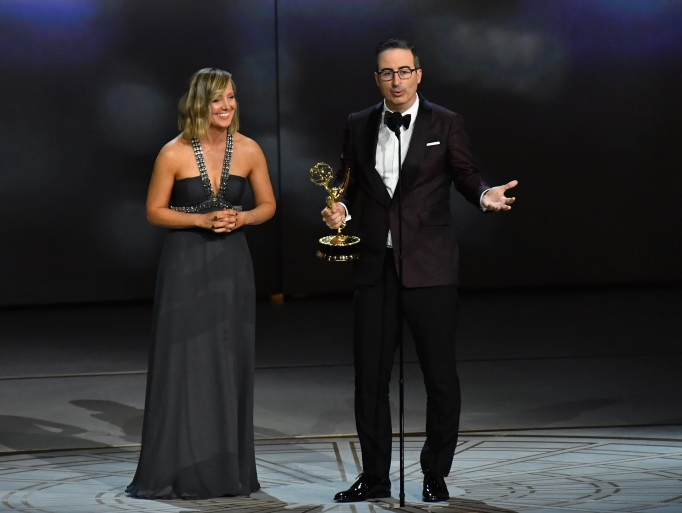 John Oliver accepts his third straight Emmy award for outstanding variety talk series.