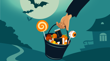 Trick-or-treating bucket with candy
