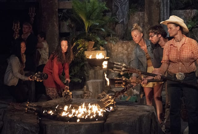 Photo of Jessica Peet at the Tribal Council on Survivor season 37