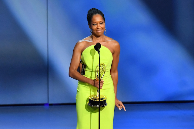 Regina King accepts the Outstanding Lead Actress in a Limited Series or Movie award for 'Seven Seconds' onstage during the 70th Emmy Awards at Microsoft Theater