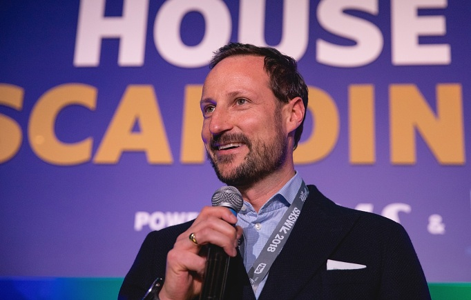 Crown Prince Haakon Magnus of Norway speaks onstage during 'The Nordic Pitch SXSW' at the House of Scandinavia