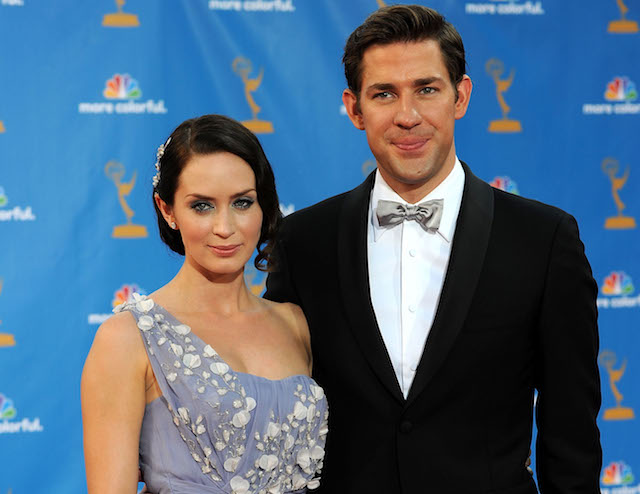 Emily Blunt and husband actor John Krasinski arrive at the 62nd Annual Primetime Emmy Awards held at the Nokia Theatre