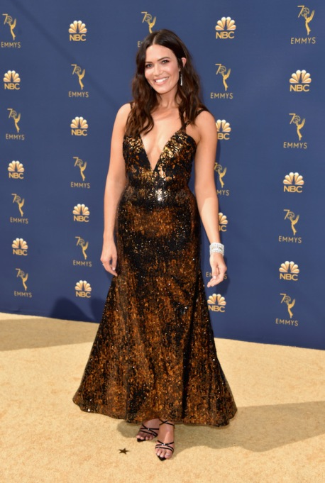 Mandy Moore attends the 70th Emmy Awards at Microsoft Theater