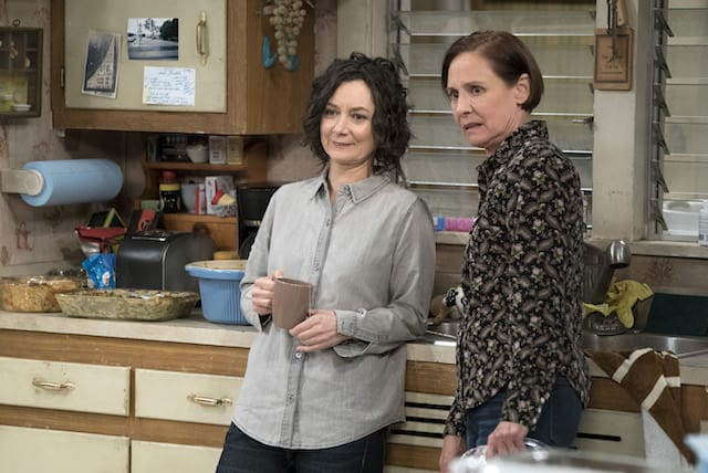 Photo of Darlene (Sara Gilbert) and Jackie (Laurie Metcalf) standing in the kitchen on 'The Conners'.