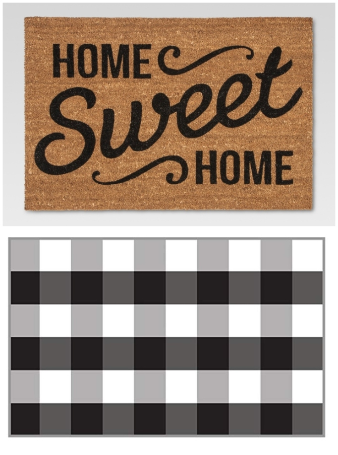 "Layered rug look featuring ""Home Sweet Home"" doormat and buffalo plaid rug."