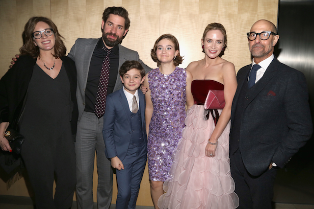 Felicity Blunt, John Krasinski, Noah Jupe, Millicent Simmonds, Emily Blunt and Stanley Tucci attend 'A Quiet Place' New York Premiere After Party