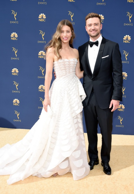 Jessica Biel and Justin Timberlake attend the 70th Emmy Awards at Microsoft Theater