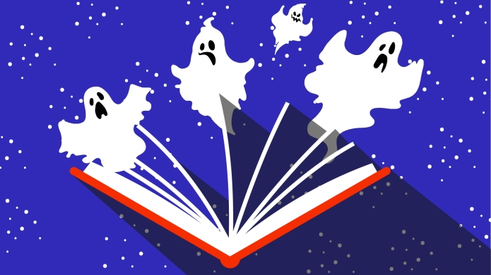 Ghosts coming out of a book