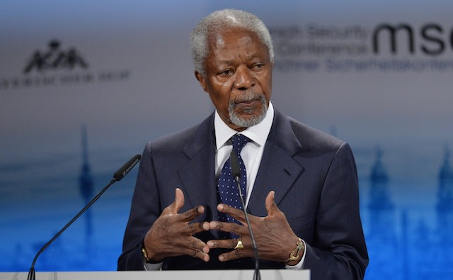 Kofi Annan delivers a speech during the 51st Munich Security Conference in Germany