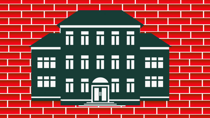 Illustration of school building against brick
