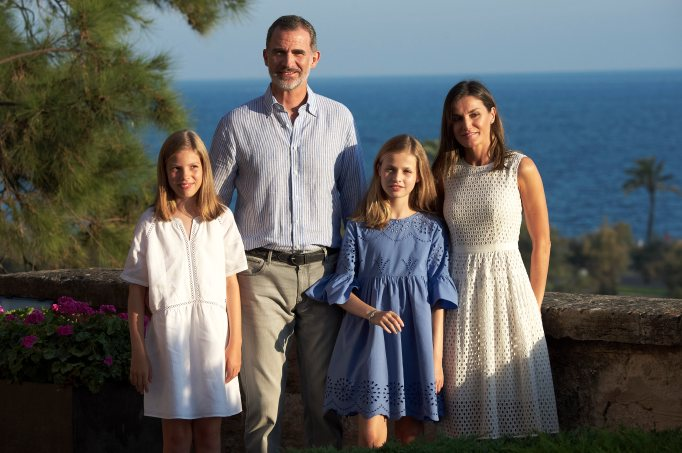 King Felipe VI, Queen Letizia, Princess Leonor and Princess Sofia at the Almudaina Palace on July 29, 2018, in Palma de Mallorca, Spain