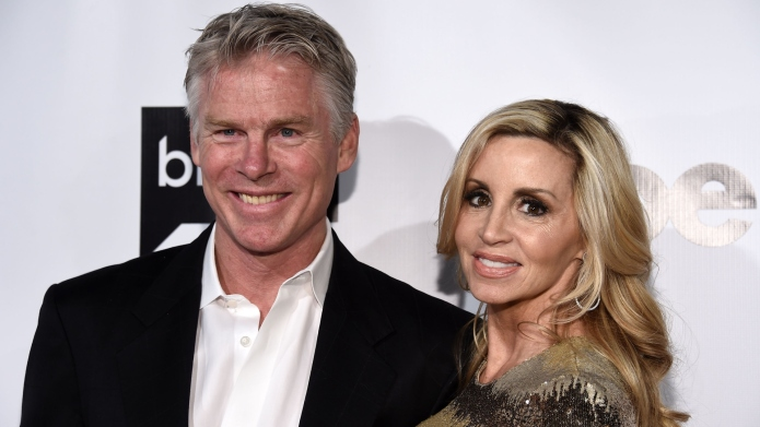 Television personality Camille Grammer (R) and
