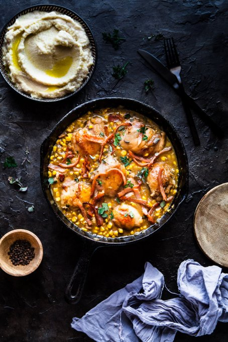 Creamy Basil Chicken with Bacon and Corn