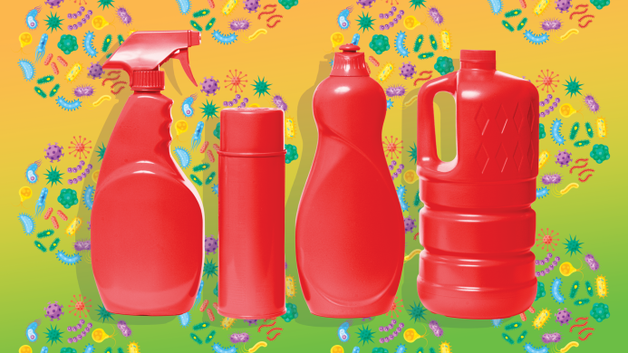 Red bottles of cleaning products
