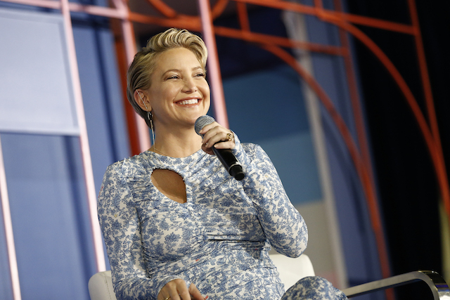 Kate Hudson speaks onstage during 'redefining the pursuit of Happness panel on day 1 of POPSUGAR Play/Ground