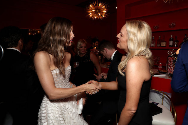 Photo of Jessica Biel & Elizabeth Moss at the 70th Emmy Awards Governors Ball