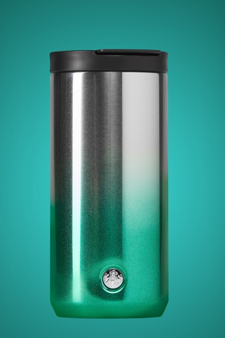 photo of starbucks green glitter ombre stainless steel tumbler