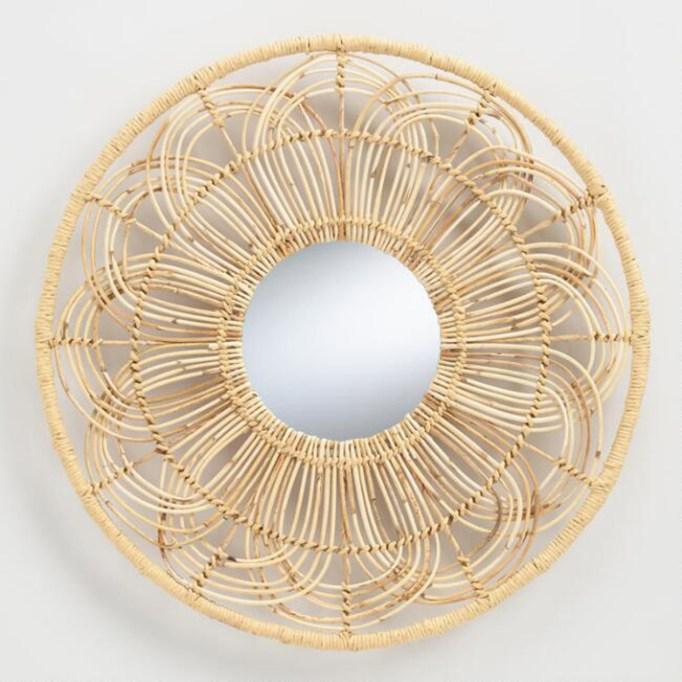 Rattan Round Floral Mirror