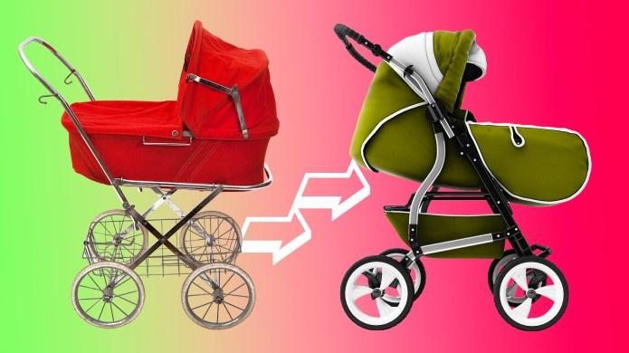 Vintage stroller and new stroller