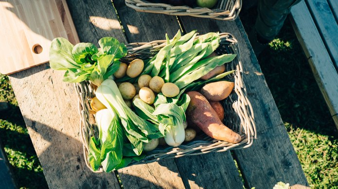 Box full of different vegetables.