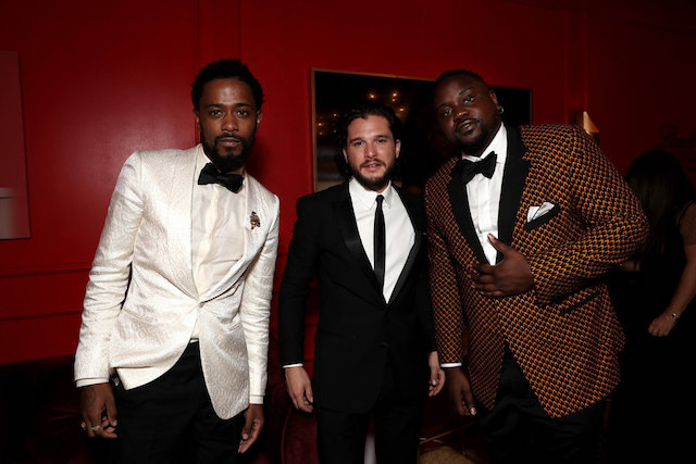 Photo of Lakeith Stanfield, Kit Harington and Brian Tyree Henry at the 70th Emmy Awards Governors Ball