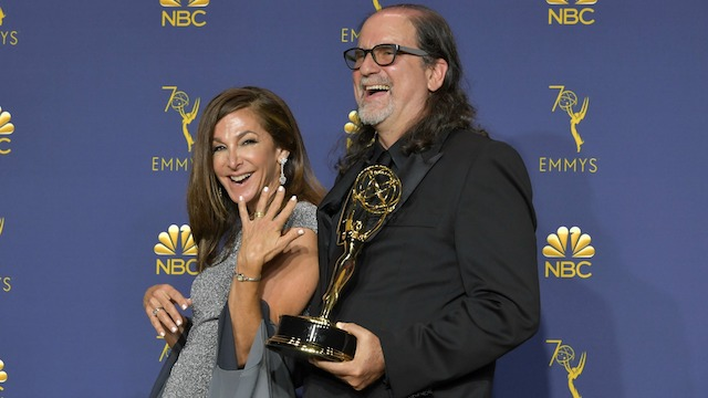 Glenn Weiss, winner of the Outstanding Directing for a Variety Special award for 'The Oscars,' and Jan Svendsen during the 70th Emmy Awards