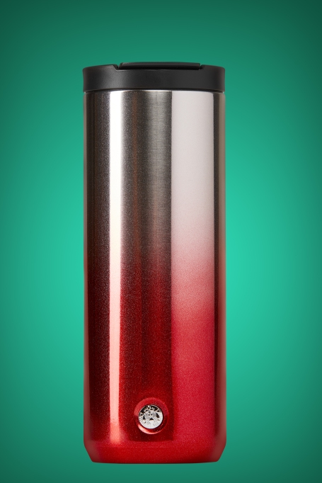 photo of starbucks red glitter ombre stainless steel tumbler