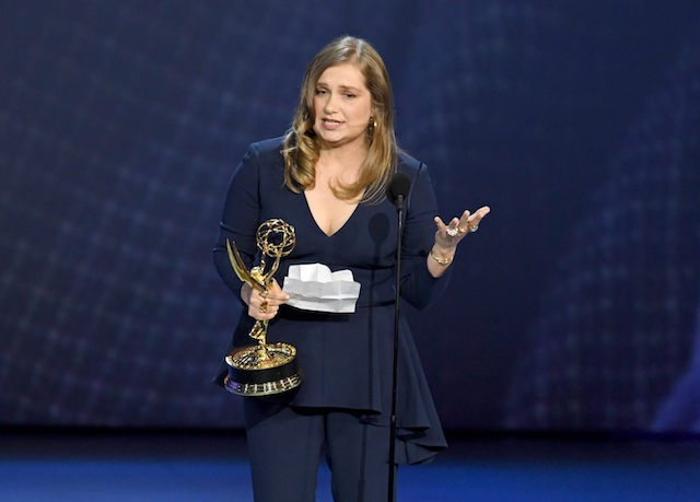 Merritt Wever accepts award for outstanding supporting actress in a limited series at the 2018 Emmys