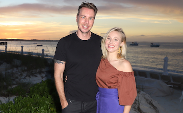 Dax Shepard and Kristen Bell pose as she vacations with her family at Beaches Turks & Caicos Resort Villages & Spa on January 30, 2018, in Providenciales, Turks & Caicos.