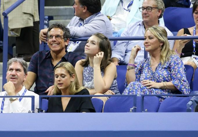 Ben Stiller, Christine Taylor & Ella Stiller at the 2018 U.S. Open