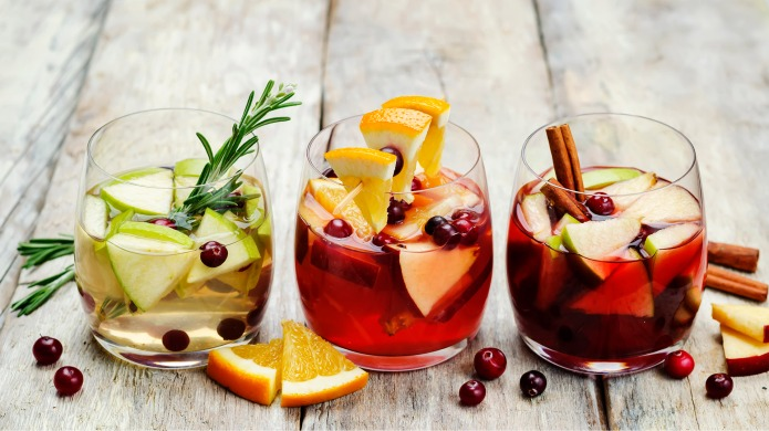 List of sangria with red, pink