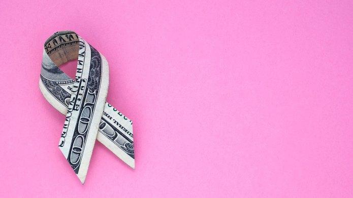 Dollar bill folded up into a