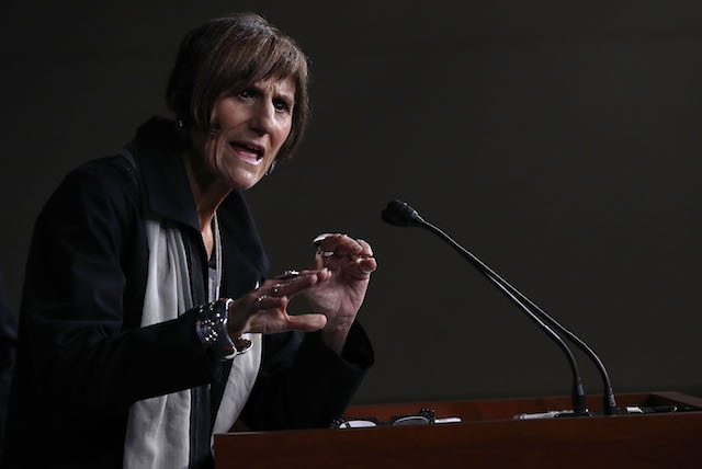 Rep. Rosa DeLauro (D-CT) speaks during a press conference at the U.S. Capitol Aug. 11, 2016, in Washington, DC