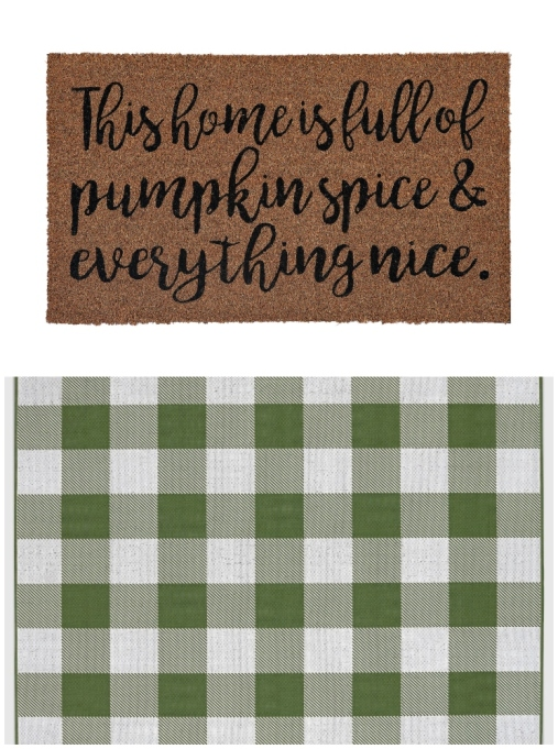 "Layered rug look featuring ""Pumpkin Spice and Everything Spice"" doormat and green buffalo plaid rug."
