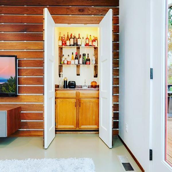 Wood panel closet doors