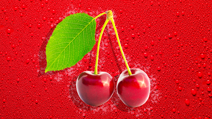 Two shiny red cherries on a