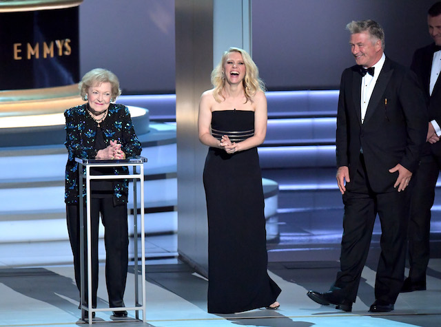 Betty White, Kate McKinnon and Alec Baldwin speak onstage during the 70th Emmy Awards at Microsoft Theater