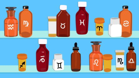 Medicine bottles with horoscope signs on