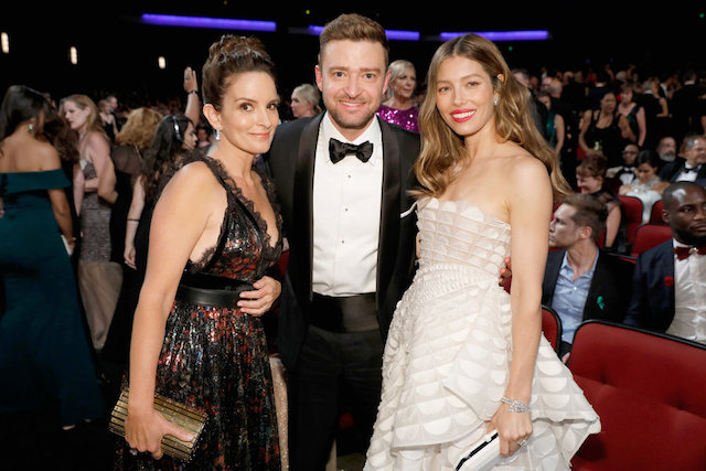 Photo of Tina Fey, Justin Timberlake and Jessica Biel at the 70th Annual Emmy Awards