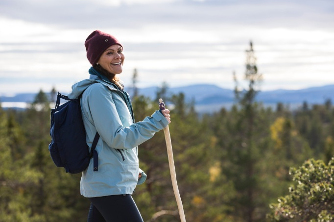 Crown Princess Victoria of Sweden is seen hiking in Skuleskogen National Park on October 3, 2018, in Ornskoldsvik, Sweden